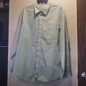 Van Heusen Men's Fitted Dress Shirt Green 17.5
